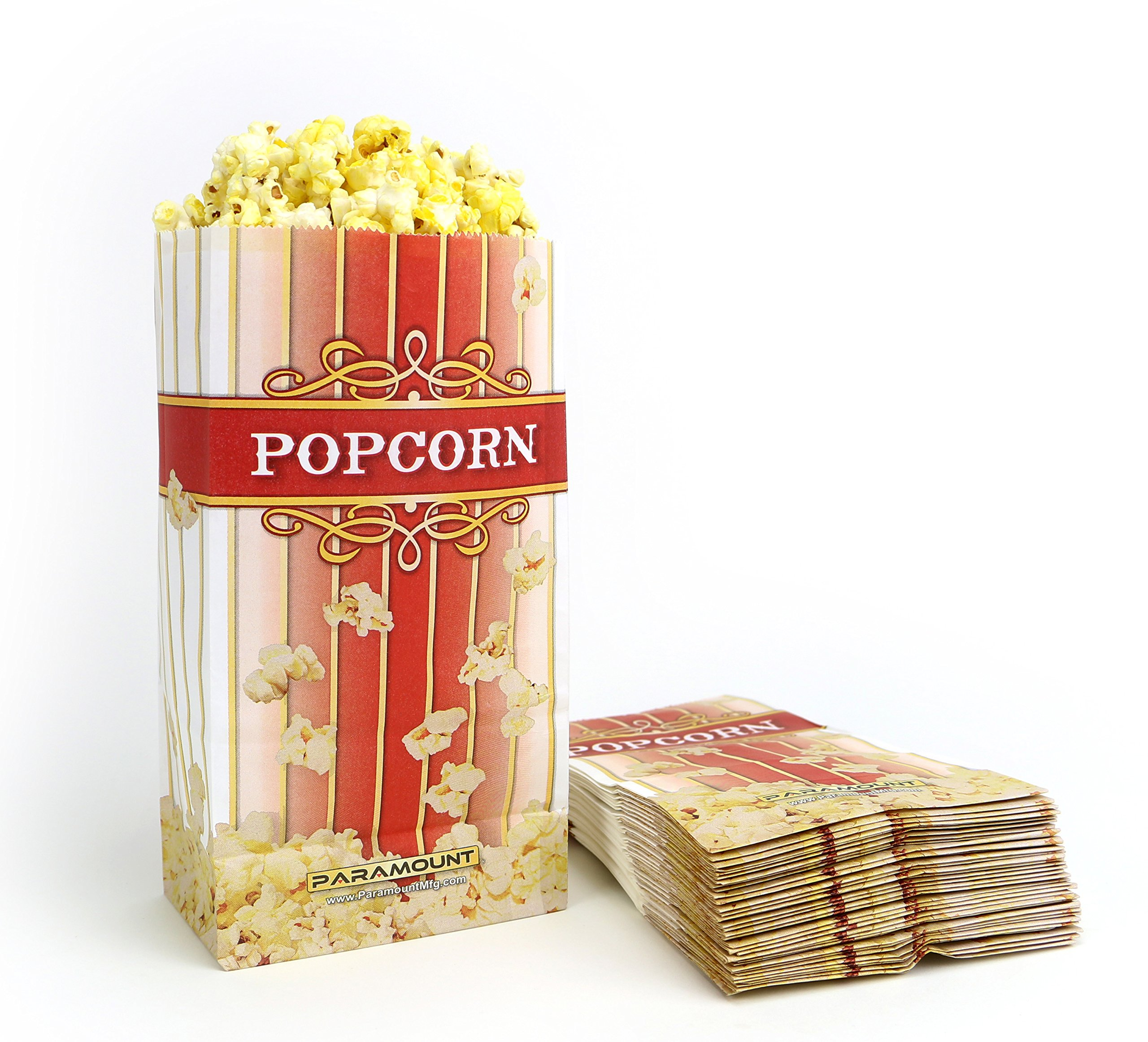 532601ce03c Get Quotations · 100 Popcorn Serving Bags -  Large  Standalone Flat Bottom Paper  Bag Style