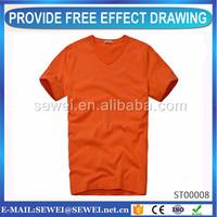 Modern design v-neck t shirts for men wholesale