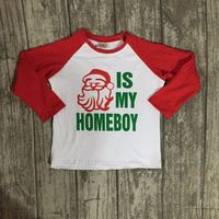 Christmas Fall/winter baby boys children clothes boutique cotton top t-shirts raglans outfits Santa is my homeboy long sleeve