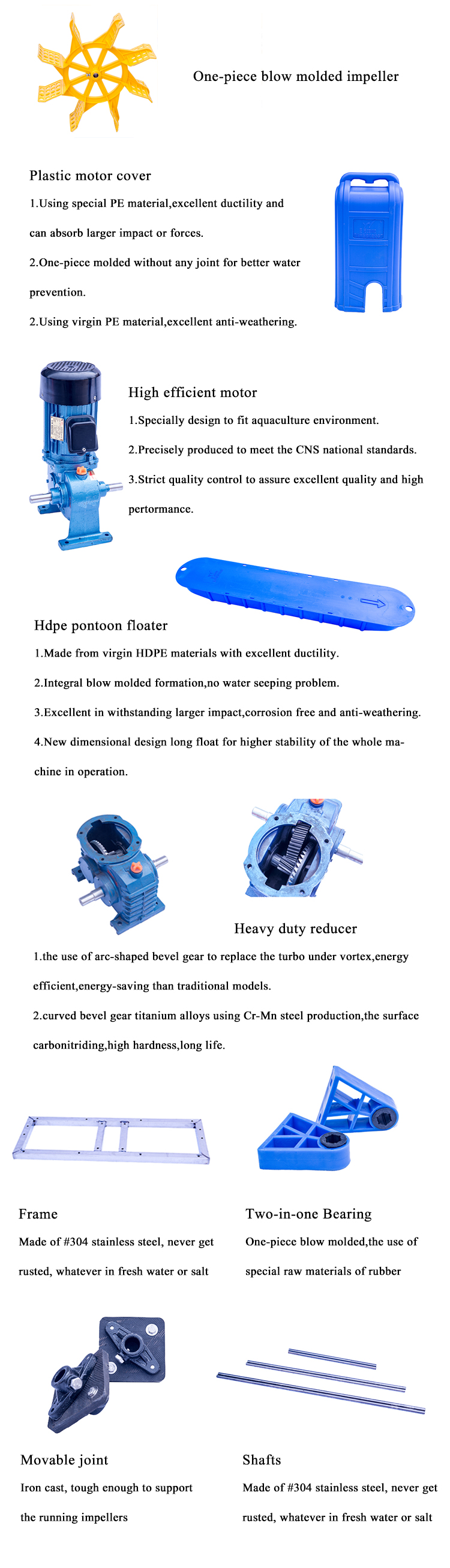 גבוהה חמצון PP מאיץ לברכת דגים חקלאות ההנעה גלגל aerator מאיץ