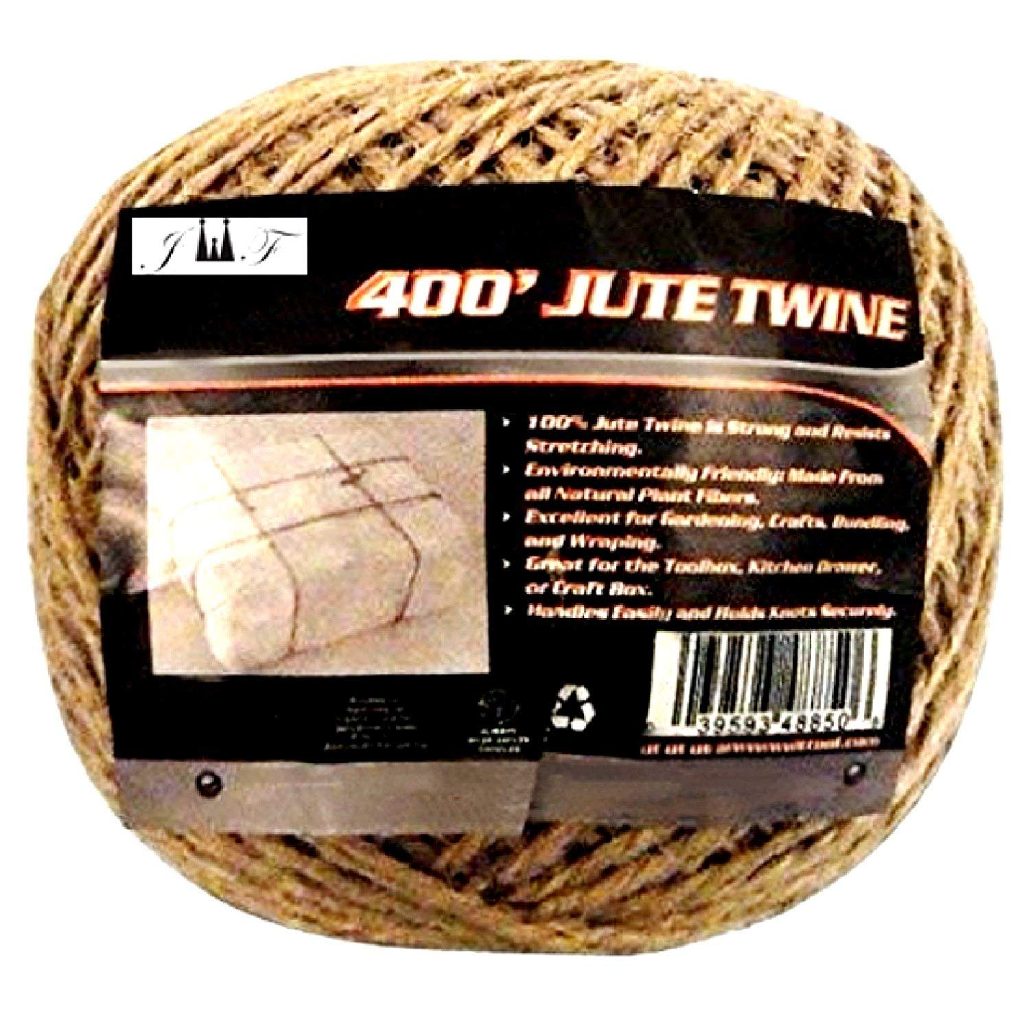 400Ft Brown Jute Twine-Strong,Heavy Duuty, Durable,Natural, Biodegradable-for Industrial, Packaging, Arts& Crafts, Hobby, Gifts, Decoration, Bundling, Gardening &Home Use
