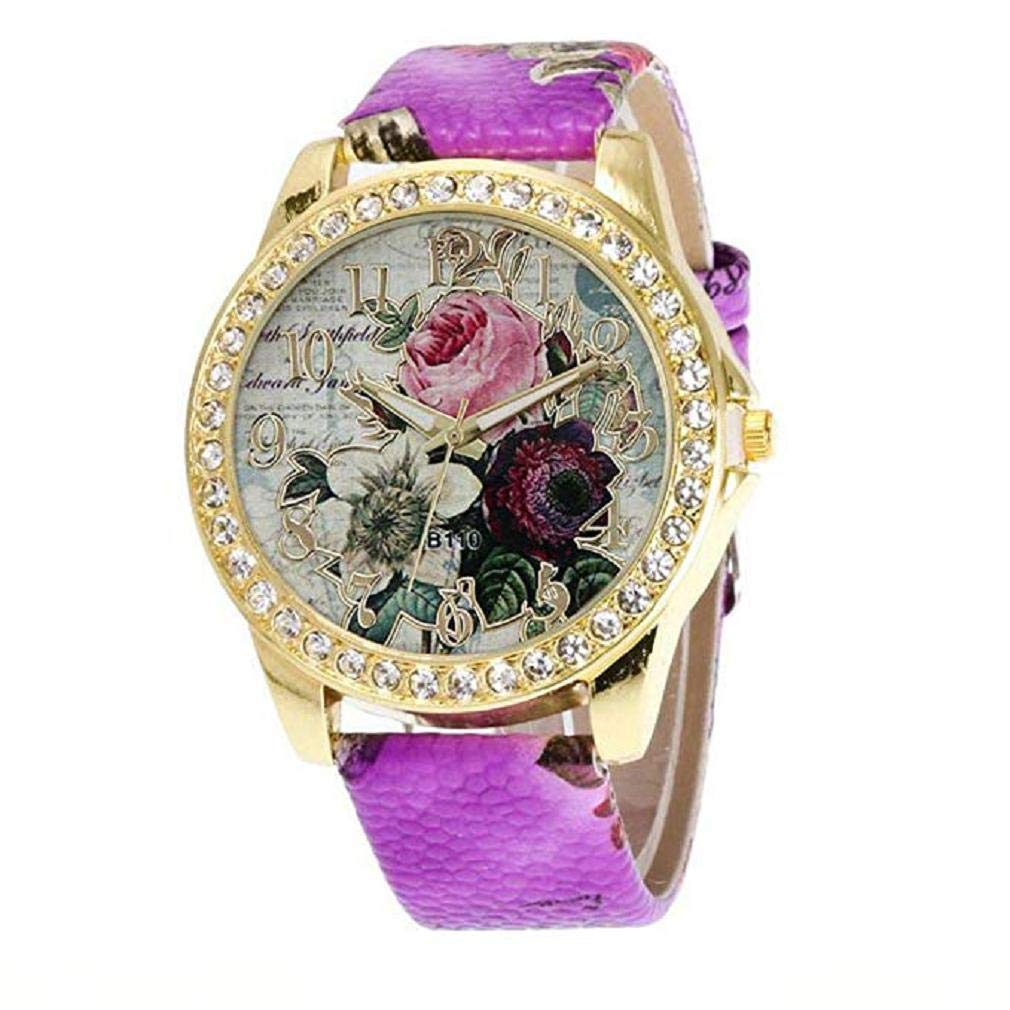 Womens Quartz Watches,Windoson Clearance Prime Teen Girls Rose Pattern Fashion Pointer Wrist Quartz Watches with Leather Band Ladies Elegant Casual Analog Classic Business Watches for Women (Purple)