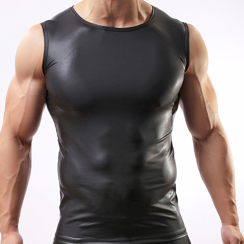 5051c836c7 Fashion Brand Man Sexy Fitness Faux Leather Tank Tops/Gay Addicted Slim Fit  Sleeveless Vest