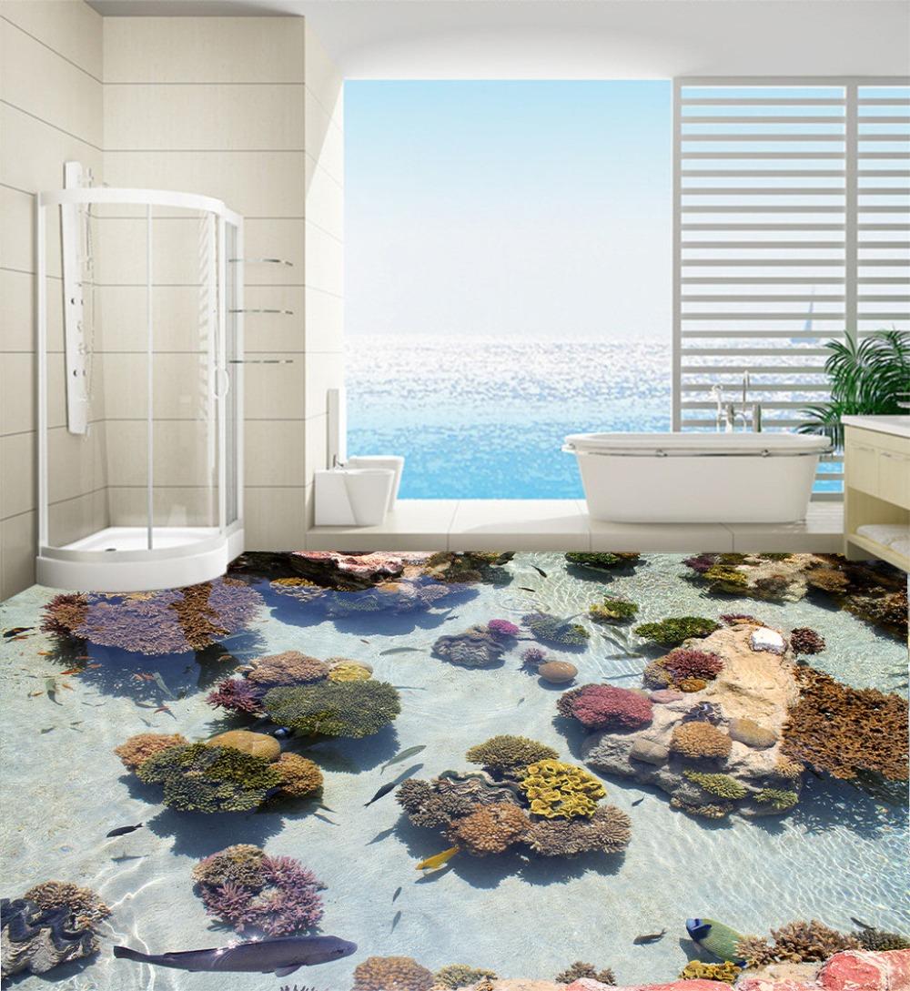 Decorate Your Home Door Wallpaper Murals 3d Fish And Stone