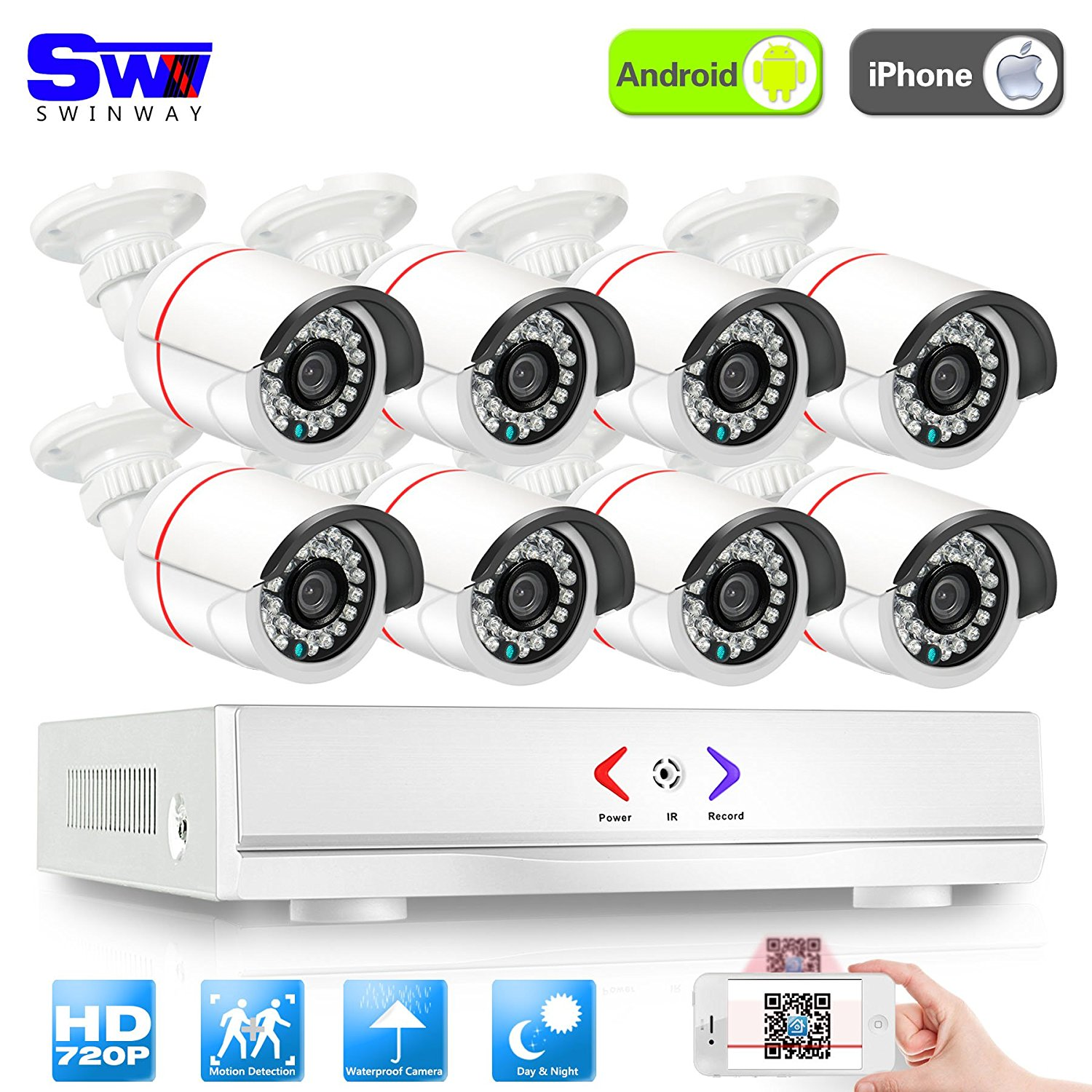 SW Swinway 8 Bullet Cameras AHD 8Ch1800TVL CCTV Security System AHD DVR Digital Video Recorder Kit Motion Detection for DVR CCTV Surveillance Security camera System Without Hard Disk