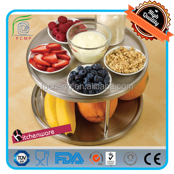 Cake Fruit Display Tray 360 Degree Turntable 2 Tier Design Stainless Steel  Lazy Susan