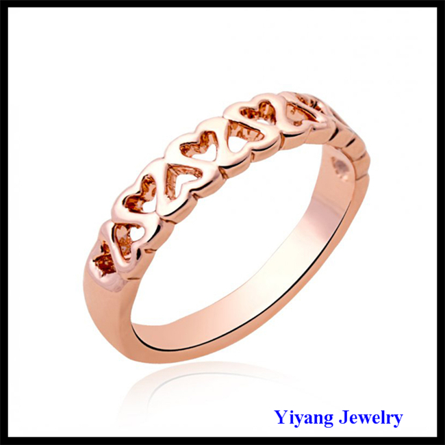 Multi Heart Rose Gold Fashionable Design Gold OM Ring