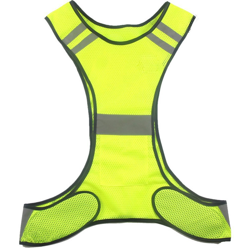 Reflective Vest for Running Cycling Jogging Motorcycle Dog Walking - High Visibility Safety Gear for Men and Women - Fully Adjustable & Multi-purpose Lightweight Breathable Mesh Fabric (Yellow)