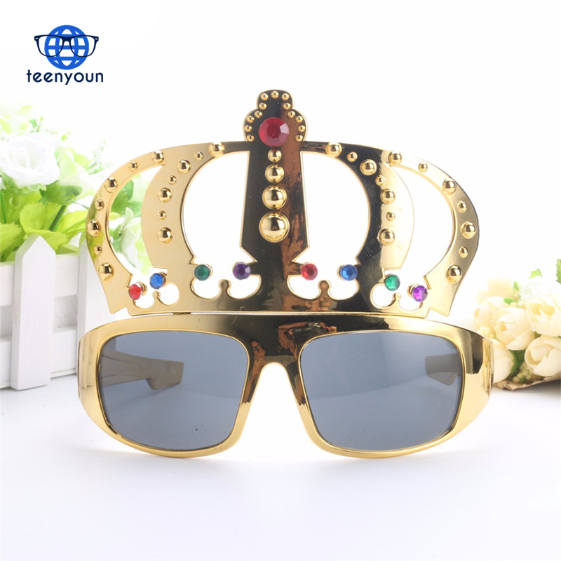 Stylish Crown Shape Glasses Party Costume Glasses Electroplating Sunglasses