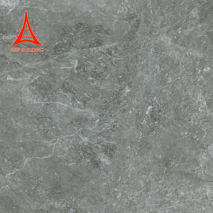 Industrial style full body marble semi-polished glazed tile dark grey smooth porcelain tiles