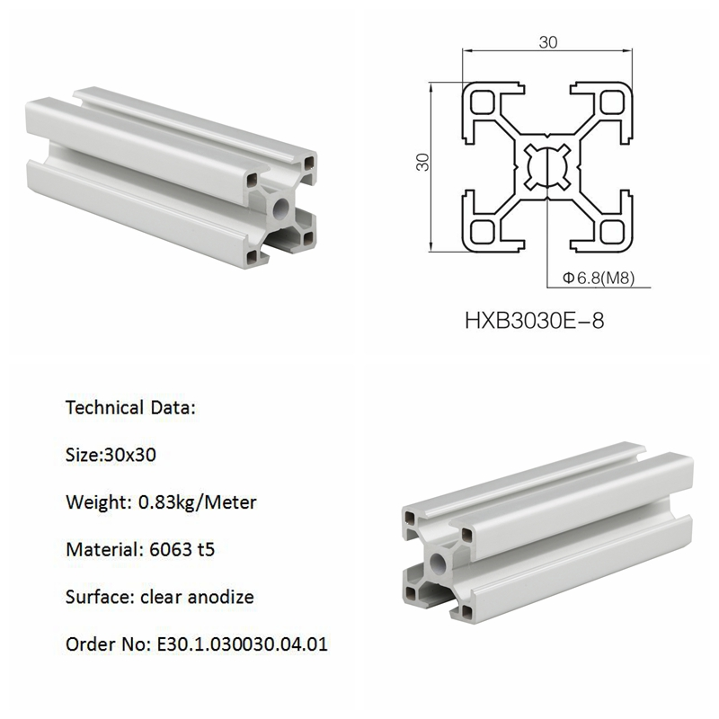 3030 T Slot Extruded Aluminum Framing T Slot Aluminum Extrusion