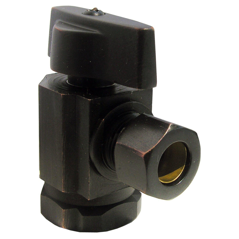 LASCO 06-9201OB Angle Stop, Quarter Turn, 1/2-Inch Female Iron Pipe X 3/8-Inch Od Compression, Dark Oil Rubbed Bronze