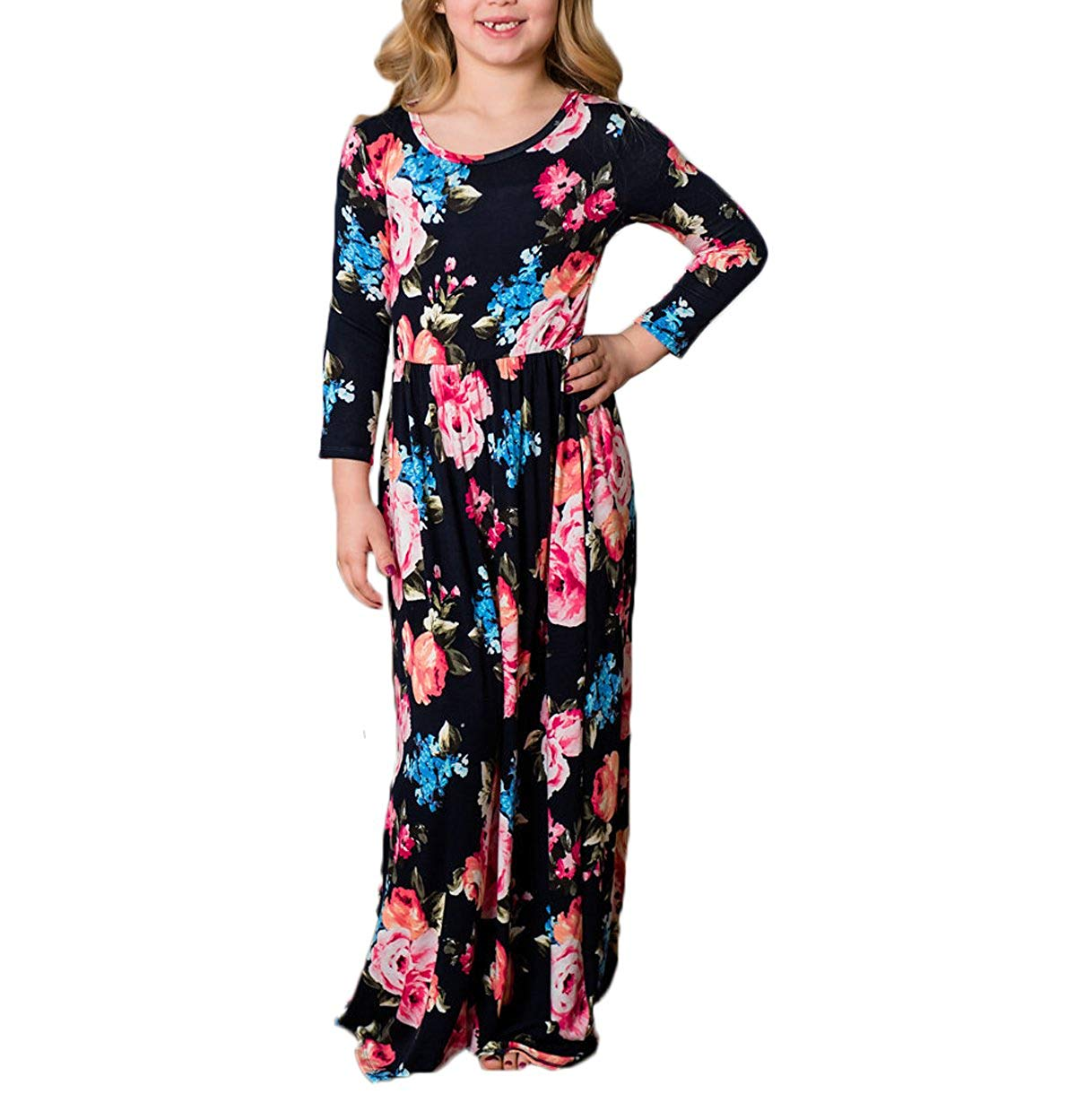 remeo suit Parent-Child Floral Print Maxi Dress Mommy and Daughter Beach Long Family Matching Dress