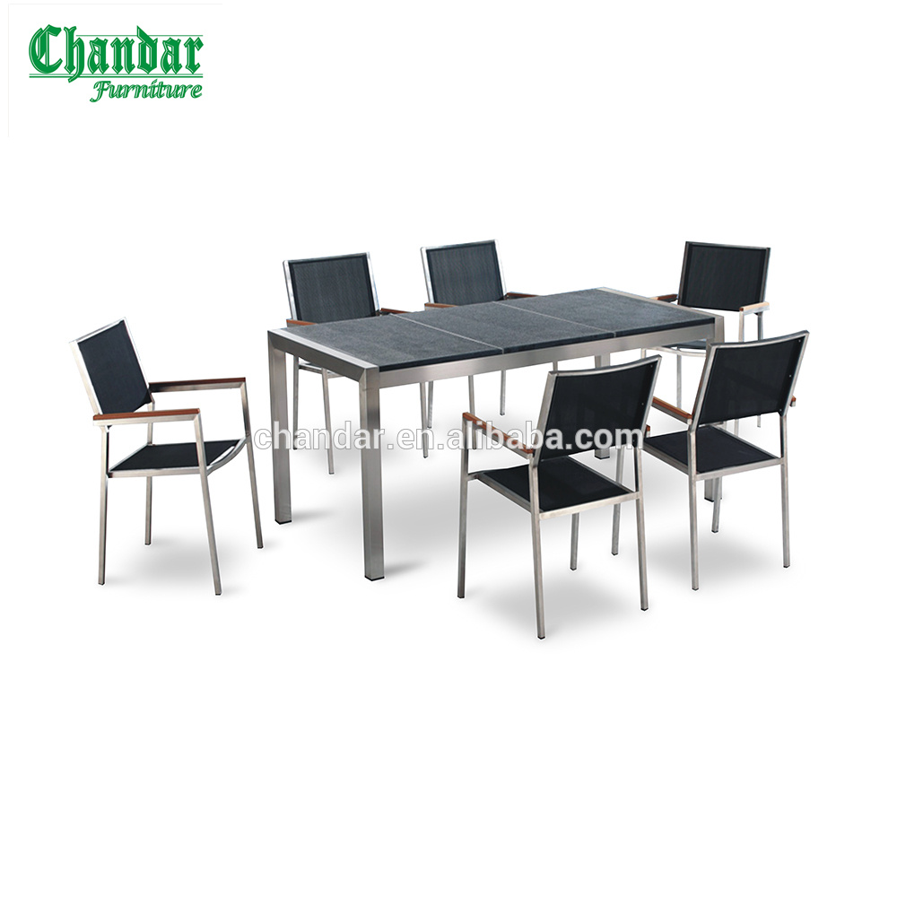 304 stainless steel frame outdoor furniturepatio furniture outdoor granite table mesh fabric chair with poly wood armrest
