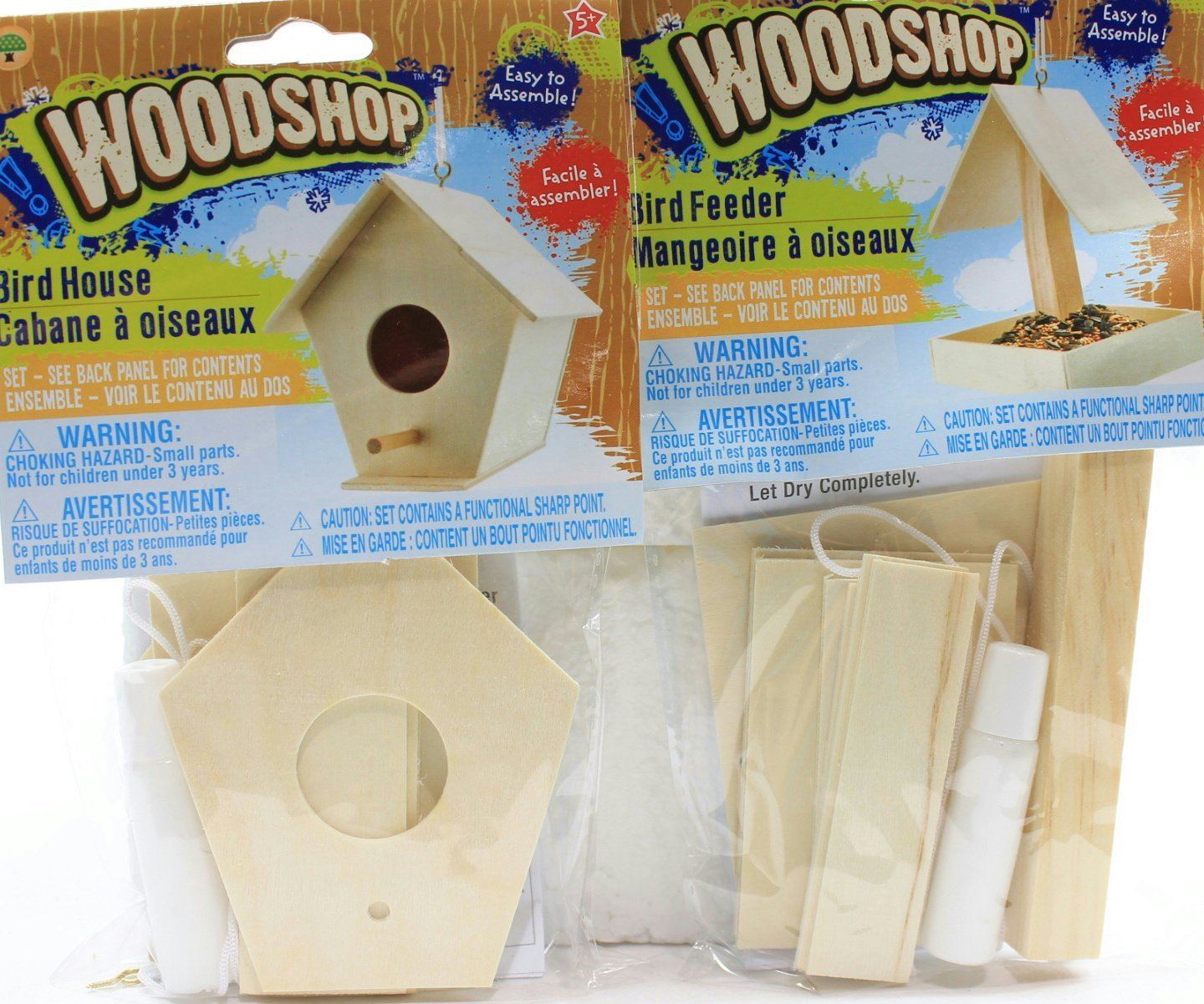 Kids Playtime Toddler Fun Set of 2 Kids DIY Woodshop Bird House and Bird Feeder MAY VARY - Easy To Assemble Activity Sets for Children