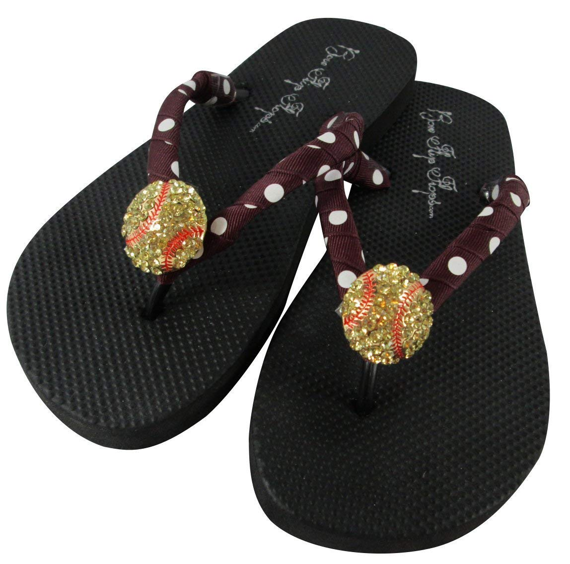 9dd3e24020242b Get Quotations · Your Pick Team Colors for Cute Softball Black Rhinestone Flip  Flops