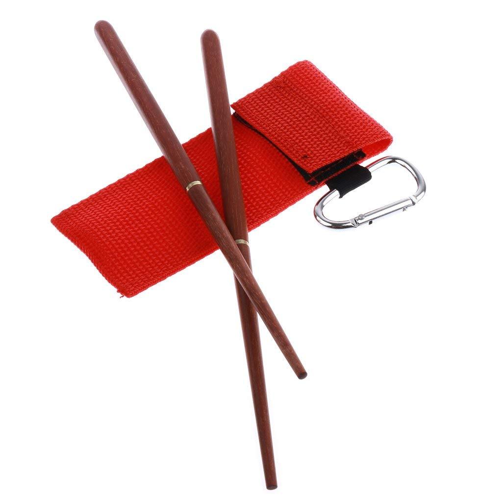 MagiDeal Foldable Chopsticks Travel Cutlery Set Rosewood Chopsticks with Carry Bag