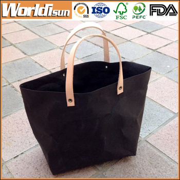 Washable paper bag shopping bags women handbags,custom kraft washable paper tote bag wholesale