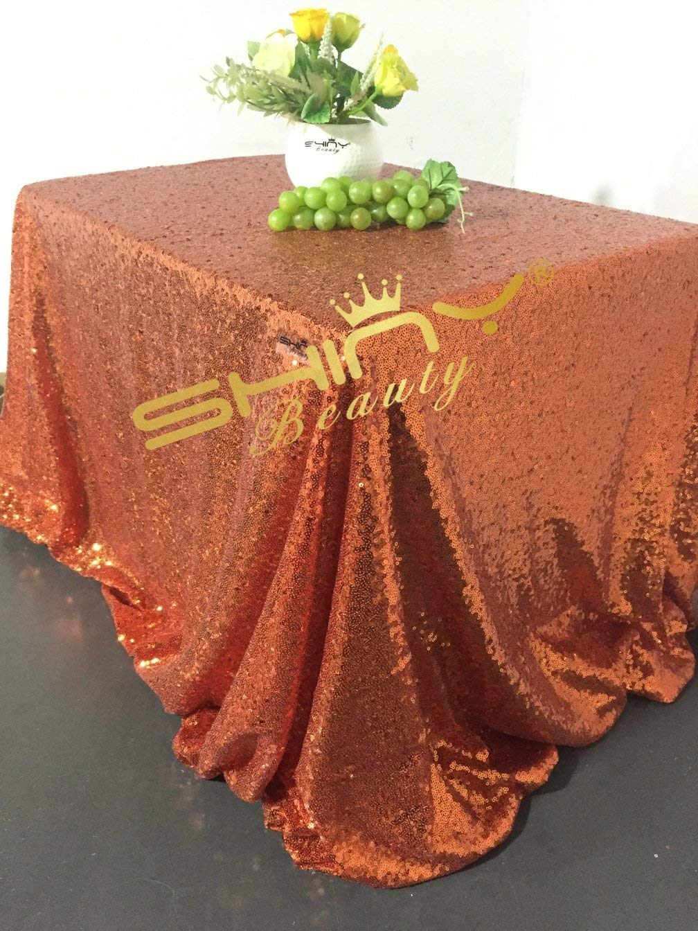 ShinyBeauty Royal Blue Sequin Linen Tablecloth-90x132-Inch, Polyester Sequin Table Cloth (Orange)