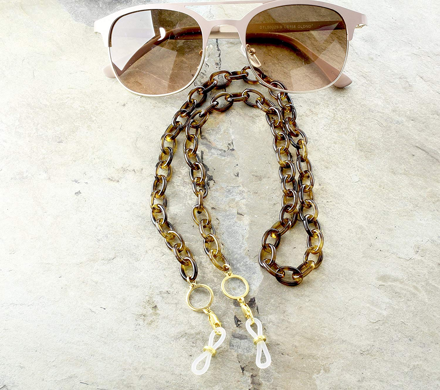 4770f8fc85 Get Quotations · Tortoise Shell Eyeglass Chain with Gold Reading Glasses  Holder Chain