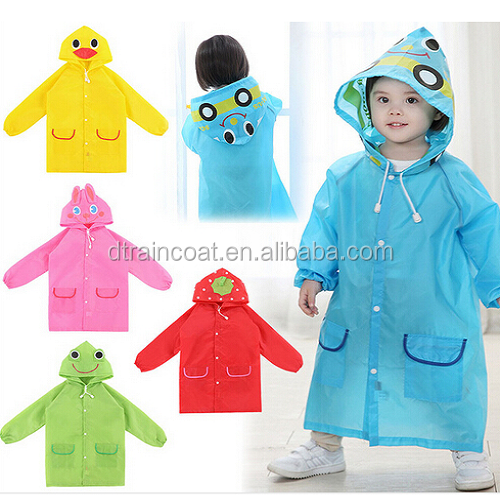 Eco-friendly children disposable plastic raincoat with cute cartoon logo