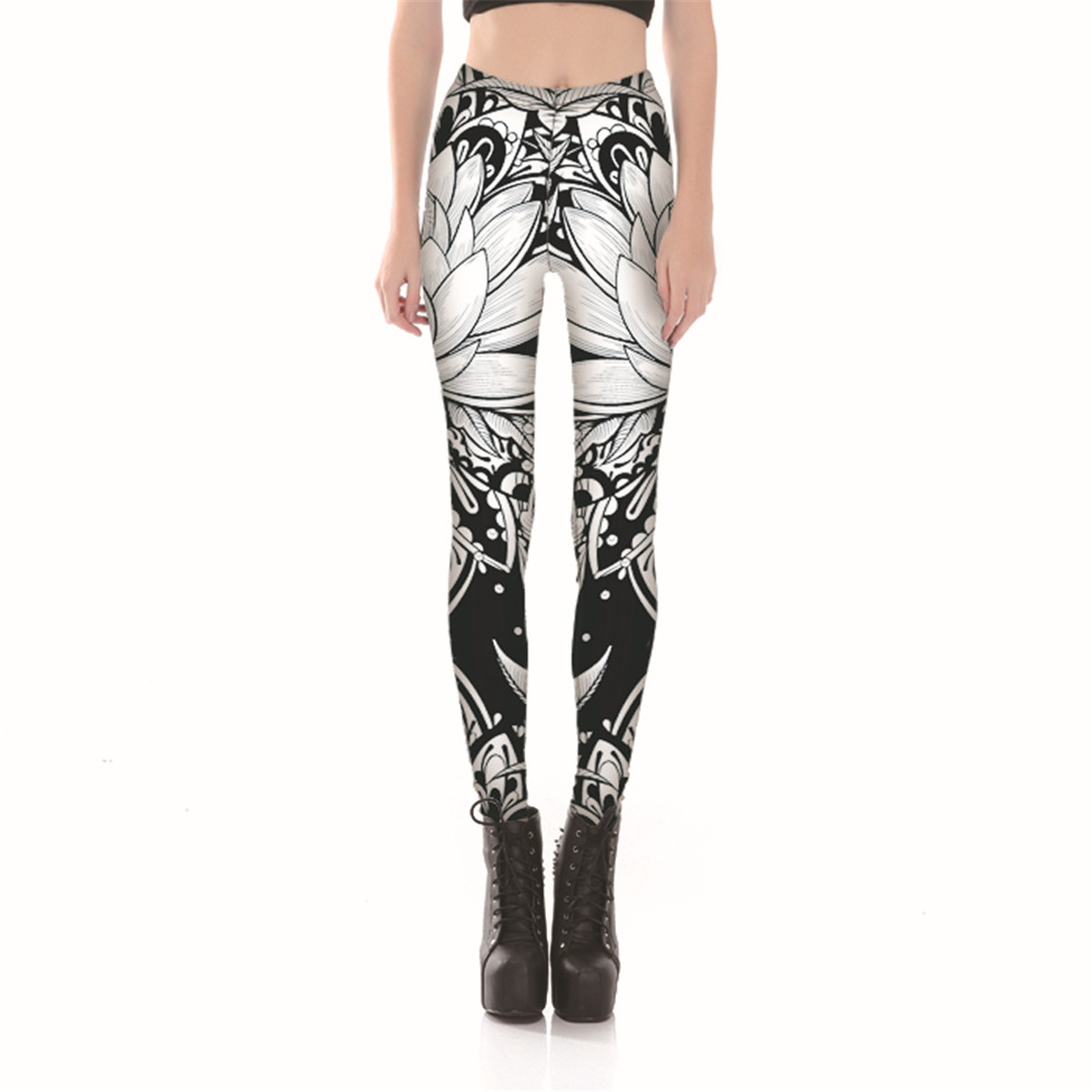 544ac70d576 2019 Floral Paisley Abstract Print Leggings Soft Plus Size White ...