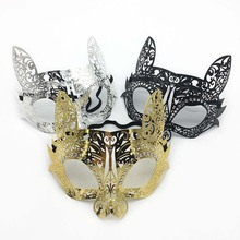 Venetian do <span class=keywords><strong>carnaval</strong></span> masquerade animal gato coelho meia face máscara de metal strass