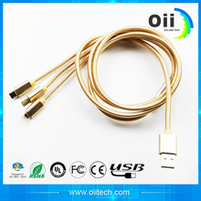 The latest nylon fabrication, three - in - one multi - function data cable charger line, USB mobile phone charging line