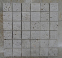 48x48mm White Travertine Stone Mosaic Tile For Home Decoration