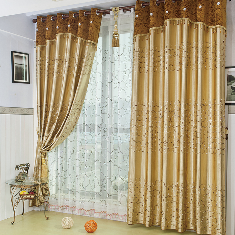 Gold embroidered gauze window full blackout curtains - Curtains for bay windows in living room ...