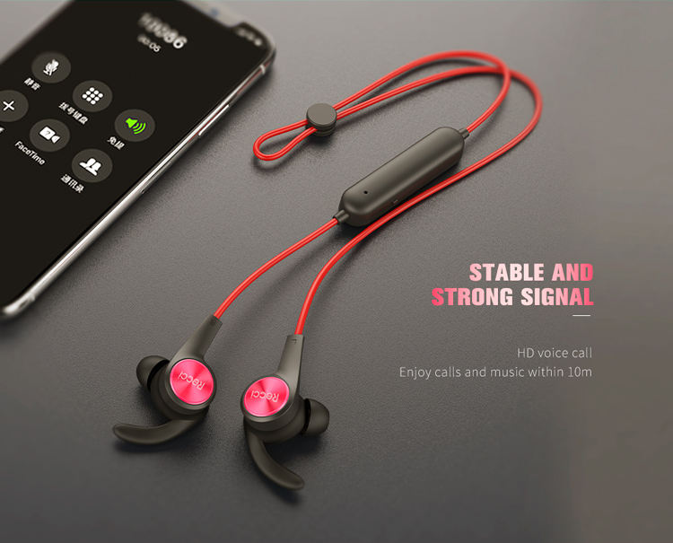 RECCI Factory Price Magnetic Sport Wireless Earphone Stereo Wireless Blue tooth Cordless Earphone