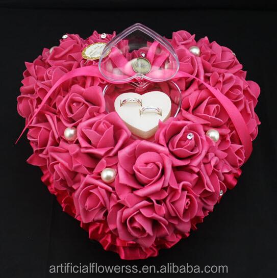 Romantis Mawar Putih Berbentuk Hati Hadiah Cincin Bantal Buy