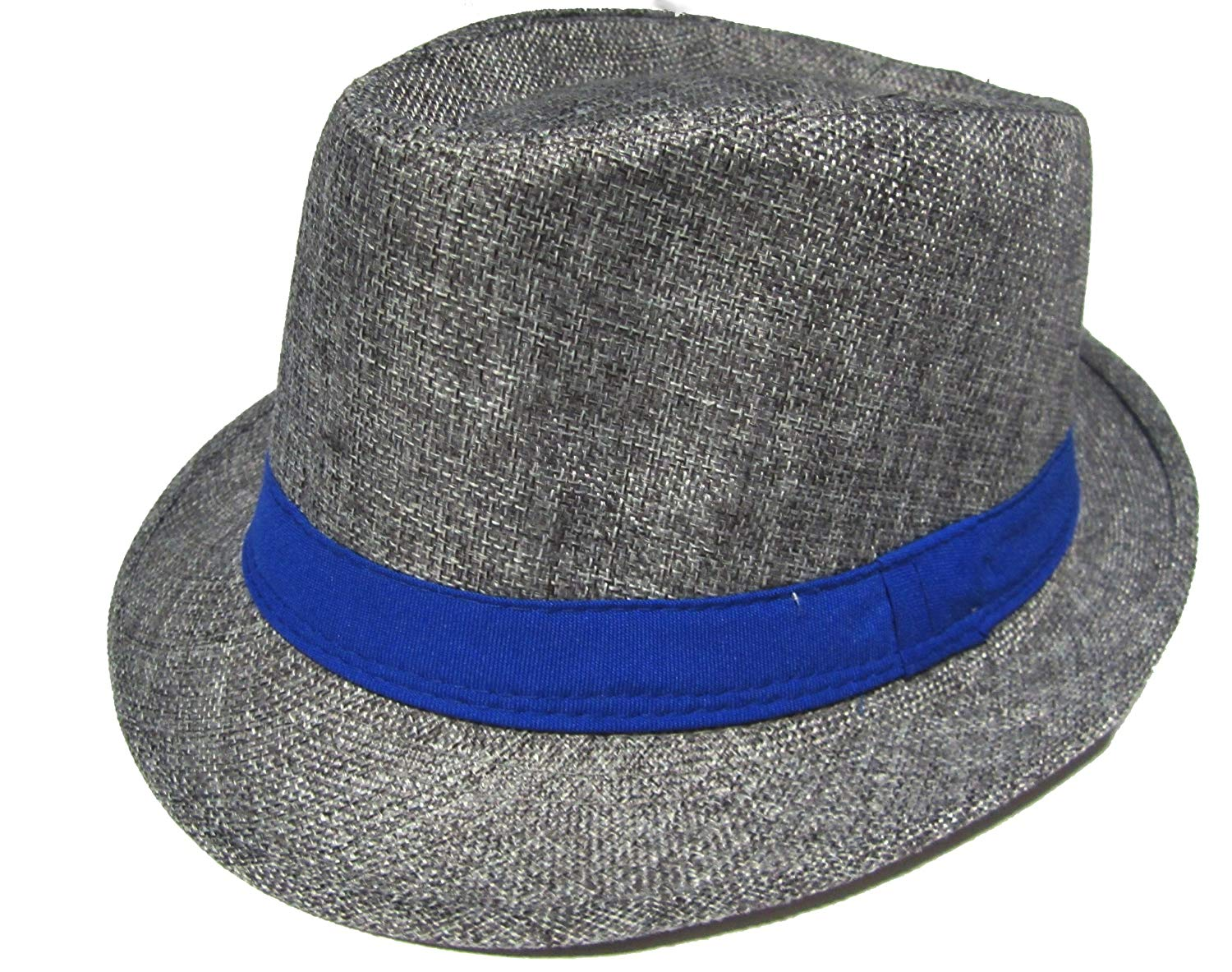 87da0c1bf9ea7 Get Quotations · Gray and Blue Fedora Hat - Blue Band Fedora Hat