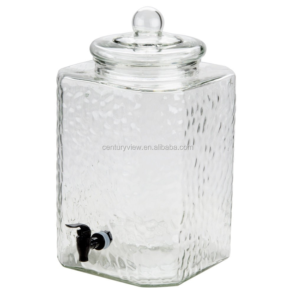 3 Gallon Glass Jar With Tap Glass Ice Tea Dispenser With Glass Lid