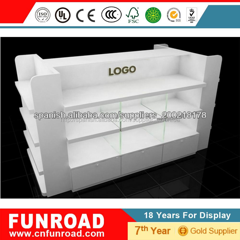 Cuatro pisos blancos mdf mobiliario lujoso para tienda de for Catalogo de muebles de madera mdf