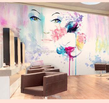 Personnalisé 3d Abstrait Mode Fille Papier Peint Décoration De Magasin De Vêtements De Salon De Beauté Cosmétiques Murale Buy Papier Peint De