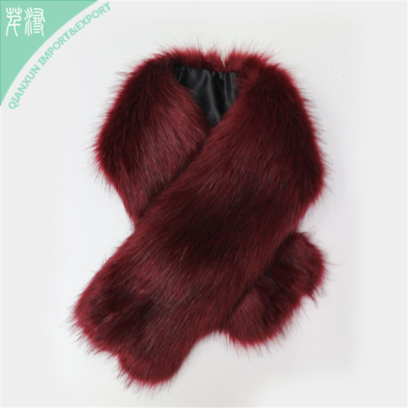 SC-129042 New Style Women Wine Red Color Fashion Winter Warmer Fake Fur Neck Scarf