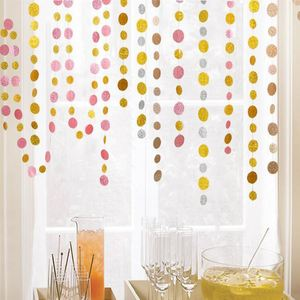 4 Pack Gold Circle Dots Glitter Paper Garland Hanging for Wedding Birthday Party Decoration