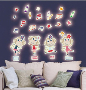 Glow in the Dark Stickers 4 Folllow Music Dancing Monkeys Luminous Wall Decals Cartoon Home Kid Room Decor for Baby Nursery Bed