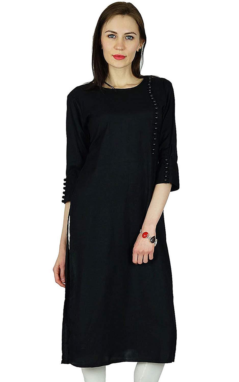 80694a44f6b9a7 Get Quotations · Bimba Women Rayon Custom Kurta Designer Kurti 3 4 Sleeve  Formal Casual Tunic Blouse