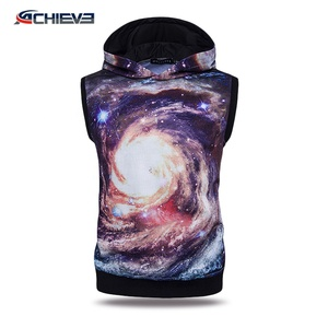 Polar fleece fabric custom christmas hoodies, sublimated sleeveless sweater, loose crewneck sweatshirts
