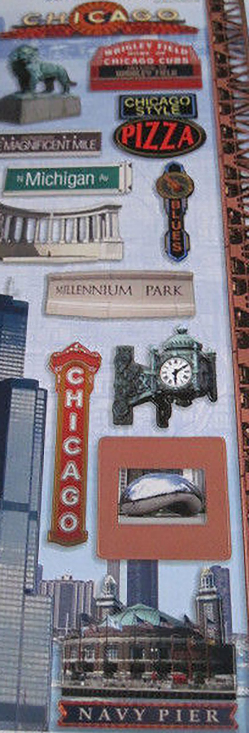 "Custom & Decorative {1"" to 3"" Inch} 18 Piece Pack of Mid-Size Stickers for Arts, Crafts & Scrapbooking w/ ""Chicago"" City Pizza Lion Statue Street Clock & Navy Pier {Grey, White, Black, Blue, & Red}"