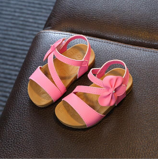 zm54173a New Arrival Summer Soft Shoes Baby Girls Hot Pink Kid Sandal