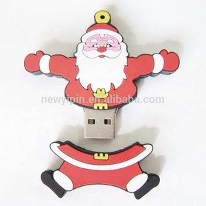 Customized santa claus shape 2gb usb stick real capacity 4gb soft pvc 8gb pendrive 16gb 32gb christmas gift usb flash drives