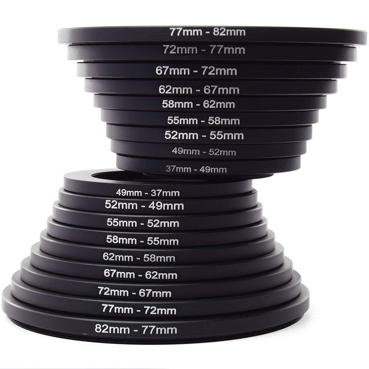 55-52 mm Anodized Black Aluminum 55mm-52mm Fotodiox Metal Step Down Ring Filter Adapter