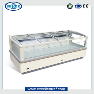 Low price CE Certification new design AHT paris glass top island display freezer