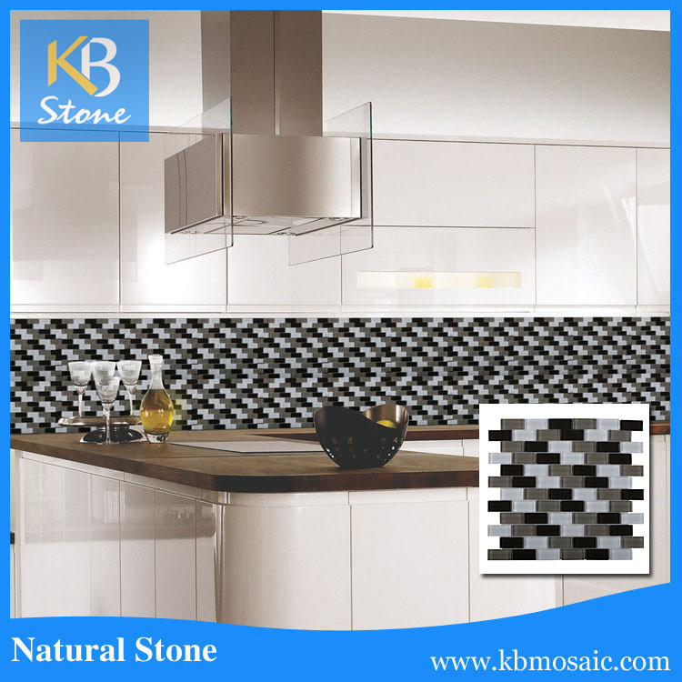 Subway glass mosaic tile for kitchen backsplash buy for Mosaic tile bar top