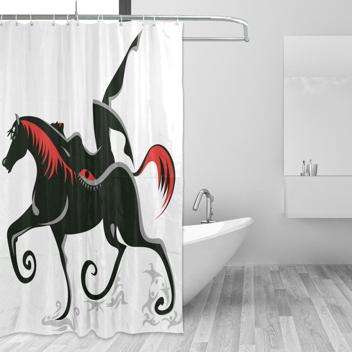 Buy African Art Home Decor Shower Curtain Set By Alaza Ancient Ethnic Egyptian Tribal Art African Horse Polyester Bathroom Shower Curtain Set With Hooks 60w X 72l Inches Red And Black In Cheap Price On Alibaba Com
