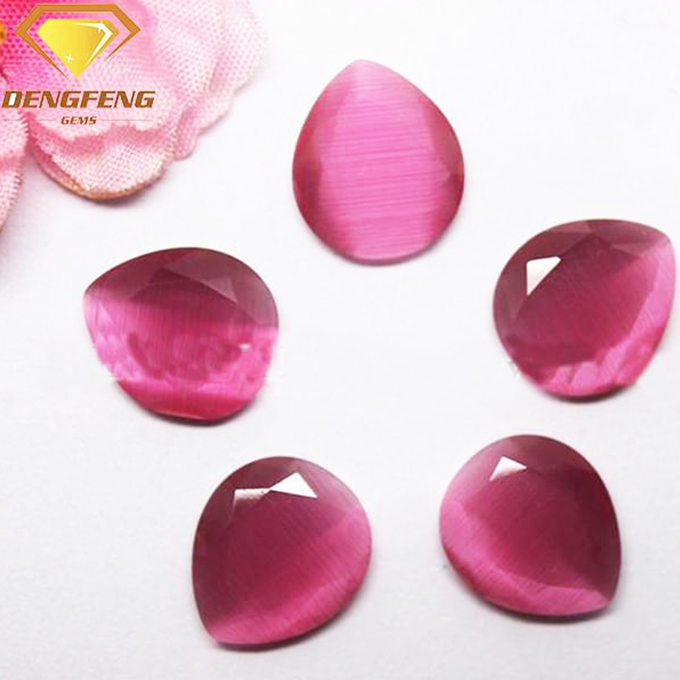 Machine Cut Pear Shape 2 Flat Face Synthetic Cat's Eye Stone
