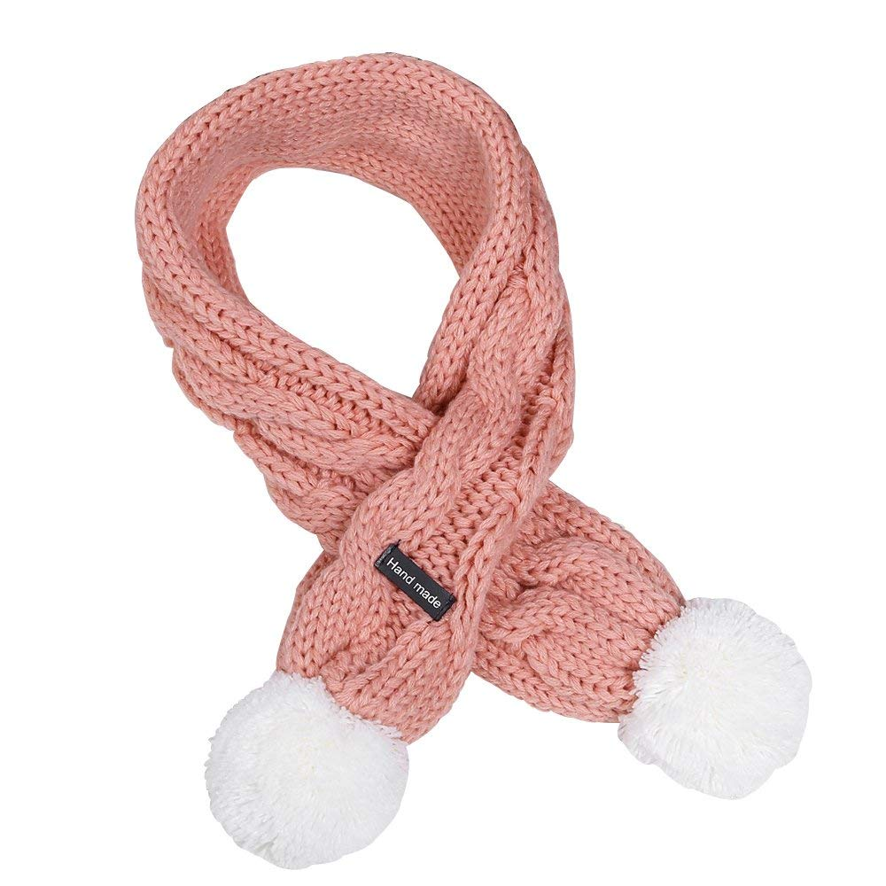 Kids Winter Warm Knitted Long Scarves Fashion Solid Color Cable Scarf Girls with Poms
